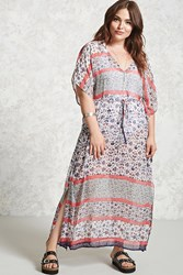 Forever 21 Plus Size Sheer Maxi Dress Cream Navy
