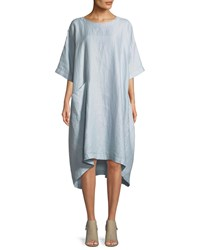 Eskandar Round Neck 3 4 Sleeves Shift Linen T Shirt Dress Blue