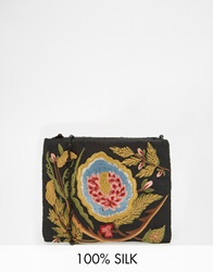Moyna Across Body Bag With Floral Embroidery And Beaded Strap In Black