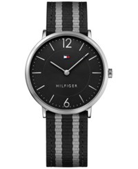Tommy Hilfiger Men's Casual Sport Slim Black And Gray Striped Nylon Strap Watch 40Mm 1791329