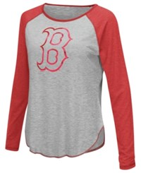 G3 Sports Women's Boston Red Sox Line Drive Long Sleeve T Shirt Gray Red
