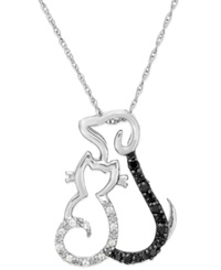Macy's Black And White Diamond Accent Cat And Dog Pendant Necklace In Sterling Silver 1 10 Ct. T.W.