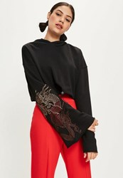 Missguided Black Embroidered Flare Sleeve Cropped Hoodie