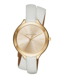 Michael Michael Kors 42Mm Slim Runway Leather Wrap Watch Golden White