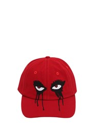 Haculla Moody Eyes Cotton Gabardine Baseball Hat Red