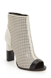 Calvin Klein Women's 'Krizia' Peep Toe Bootie Soft White Black Leather