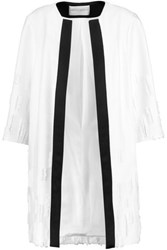 Amanda Wakeley Satin Trimmed Distressed Crepe Coat White