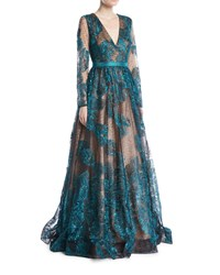 Jovani Long Sleeve Deep V Sequined Lace Evening Gown Green Black