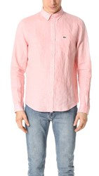 Lacoste Button Down Linen Shirt Rosebud Pink