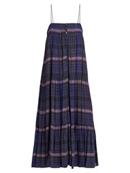 Apiece Apart Tangiers Sleeveless Checked Voile Dress Navy Print