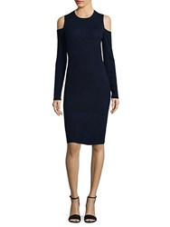 Saks Fifth Avenue Wool And Cashmere Cold Shoulder Dress Navy