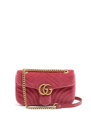 Gucci Gg Marmont Small Quilted Velvet Cross Body Bag Pink