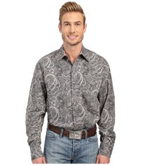Stetson Neptune Paisley Long Sleeve Snap Front Shirt Grey Men's Clothing Gray