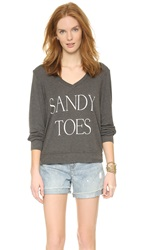 Wildfox Couture Sandy Toes Baggy Pullover Dirty Black