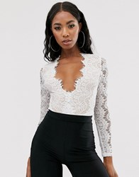Rare London Lace Plunge Front Body In White