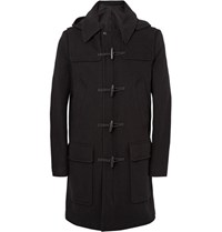 Ami Alexandre Mattiussi Wool Blend Hooded Duffle Coat Black
