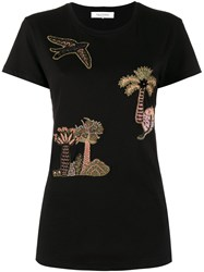 Valentino Embroidered Tree T Shirt Black