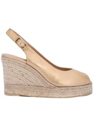 Castaner Open Toe Espadrille Wedges Women Leather Rubber 39 Gold