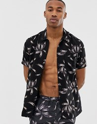 Religion Revere Collar Shirt With Feather Print Black
