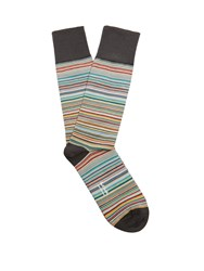Paul Smith Striped Cotton Blend Socks Grey Multi