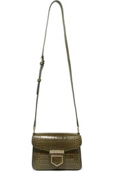 Givenchy Nobile Mini Croc Effect Glossed Leather Shoulder Bag Army Green