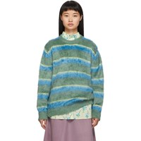 Marc Jacobs Green And Blue Silk Crewneck Sweater