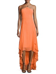 Halston Halter High Low Dress Mandarin