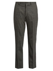 Dolce And Gabbana Prince Of Wales Checked Wool Trousers Grey
