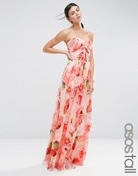 Asos Tall Wedding Floral Printed Ruched Bandeau Mesh Maxi Dress Multi