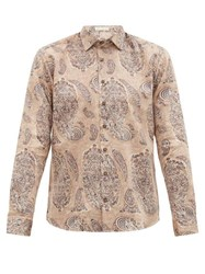 Etro Macro Paisley Print Cotton Shirt Brown Multi
