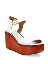 Michael Kors Bridgette Leather Ankle Strap Wedge Platform Sandals Optic White