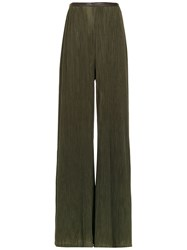 Adriana Degreas Pleated Wide Trousers Green