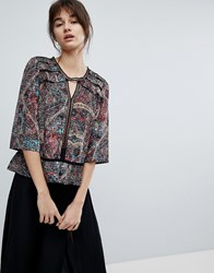 D.Ra Dakota Printed Blouse Asian Kaleid Red