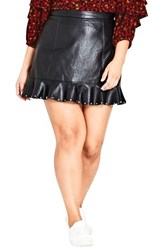 City Chic Plus Size Women's Studded Frill Faux Leather Skirt Black