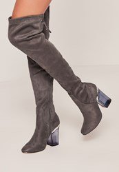 Missguided Perspex Heel Over The Knee Boot Grey