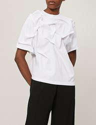 Aganovich Pleated Cotton Jersey T Shirt White