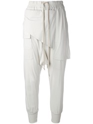 Rick Owens Drkshdw Draped Drawstring Trousers Women Cotton Xs Nude Neutrals