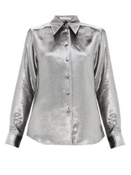 Bella Freud Sparkle Little Prince Silk Blend Shirt Silver