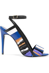 Pierre Hardy Leather Trimmed Printed Suede Sandals Cobalt Blue