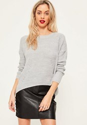 Missguided Grey Dip Back Fashioned Jumper