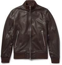 Officine Generale Laurent Full Grain Leather Bomber Jacket Dark Brown