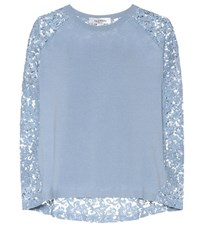 Valentino Lace Panelled Wool And Cashmere Sweater Blue