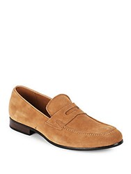 Saks Fifth Avenue Leather Penny Loafers Taupe