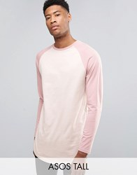 Asos Tall Super Longline Long Sleeve T Shirt With Contrast Raglan And Curve Hem Belle Chalk Pink