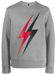 Neil Barrett Lightning Bolt Sweater Grey