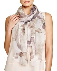 Fraas Watercolor Floral Print Scarf Taupe