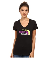 The North Face S S Half Dome V Neck Tee Tnf Black Hamachi Yellow Multi Women's T Shirt