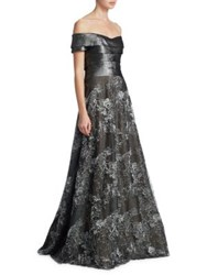 Rene Ruiz Off The Shoulder Floor Length Gown Silver