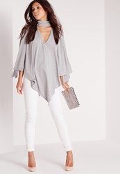 Missguided Cape Plunge Neck Tunic Grey Grey