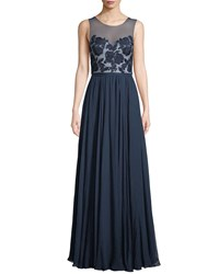 Catherine Deane Lilyana Sheer Gown W Tulle And Lace Navy